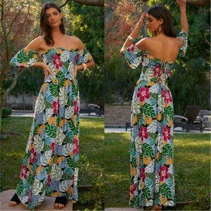BOHO DOLLZ Plam Print Maxi Dress
